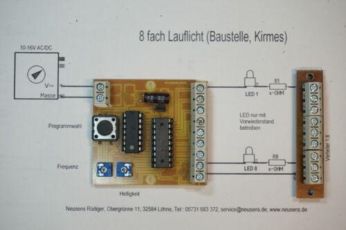 mit Verteiler 1:8  H0//N verschiedene Anzeige-Modi Lauflicht für 8 LEDs