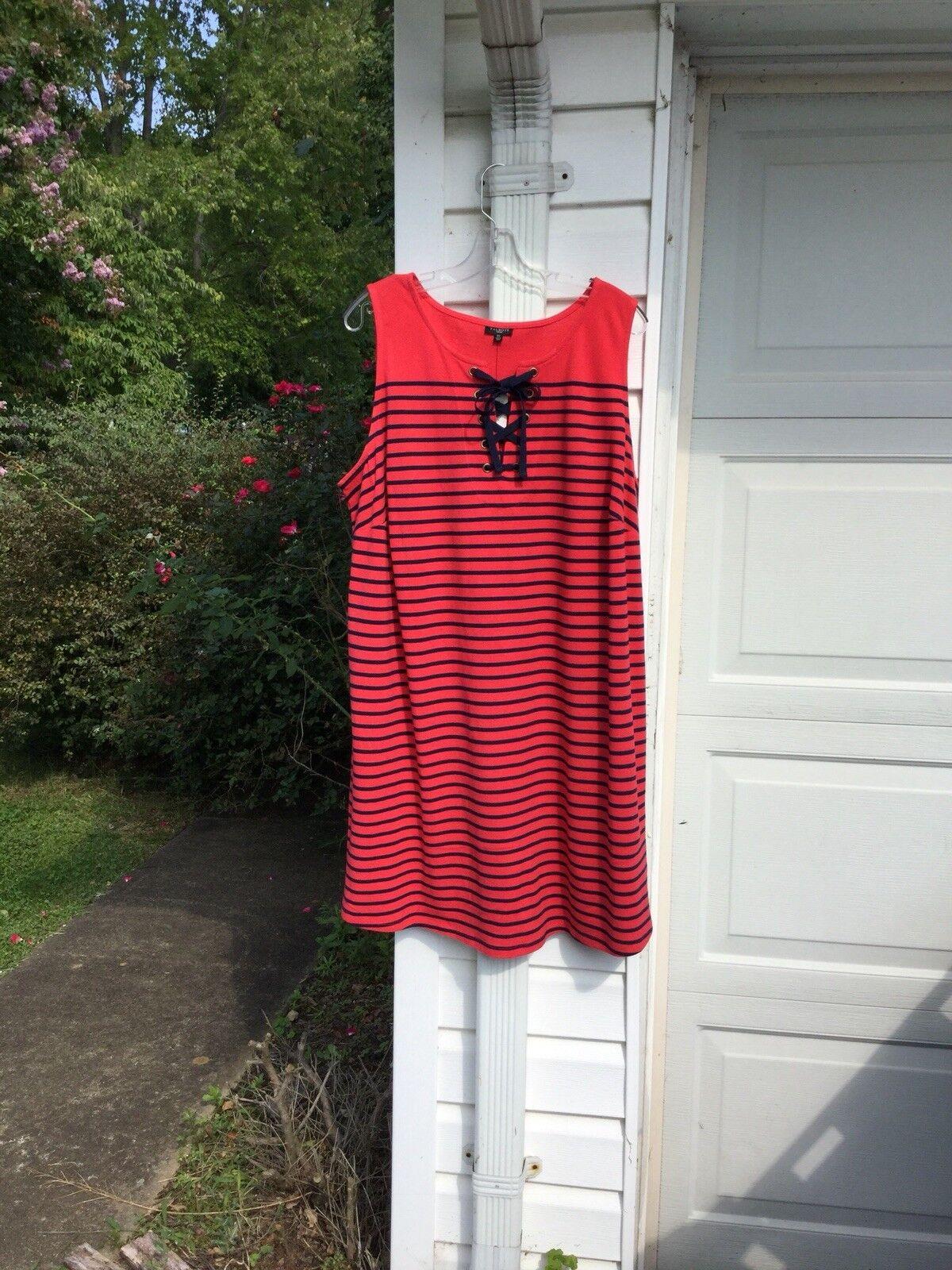 NWT Talbots Fun rot & Navy Blau Striped Sleeveless Tie Front Dress 3X 22W 24W