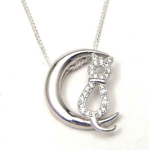 Sterling Silver Cat Moon Necklace Cubic Zirconia Pave Set 18 - 20 inches