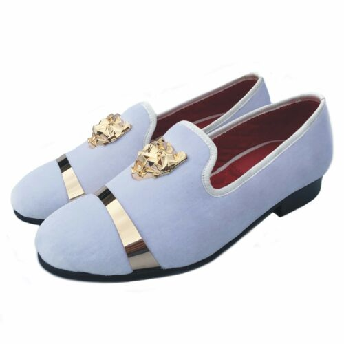 Men/'s Velvet Slippers White Loafers Wedding Dress Shoes with Gold Buckle Flats