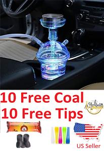 Portable Hookah Shisha Smoking Travel Cup With LED Light FREE Tips & Charcoal 🔥