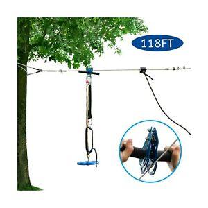 JOYMOR 118ft Backyard Zip Line Kit with Detachable Trolley ...