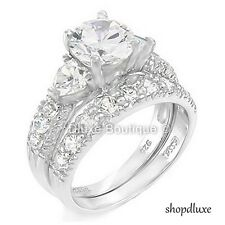 4.15 CT ROUND CUT CZ .925 STERLING SILVER WEDDING RING SET WOMEN'S SIZE 4-11