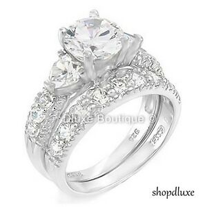 Details about 4.15 CT ROUND CUT CZ .925 STERLING SILVER WEDDING RING SET  WOMEN S SIZE 4-11 31ffbf41d2