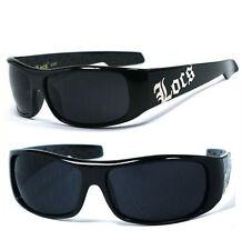 LOCS Mens Cholo OC Style Motorcycle Biker Shades Sunglasses - Shiny Black LC61