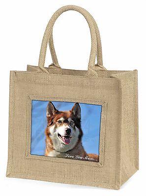 Rot Husky Hund 'Liebe, die Sie Mama' Große Natürliche Jute-einkaufstasche Chris,