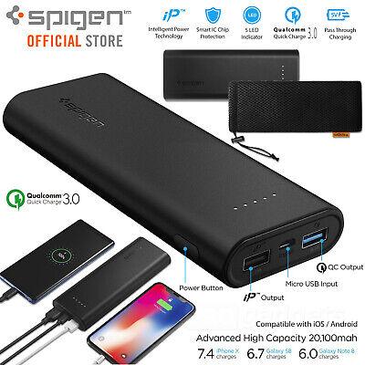 Spigen 20000mAh QC 3.0 USB External Battery Portable Power Bank Dual Charger