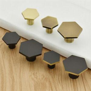 Hexagon-Brass-Cabinet-Knob-Drawer-Pull-Handle-Cupboard-Door-Decor-Crafts-Tool
