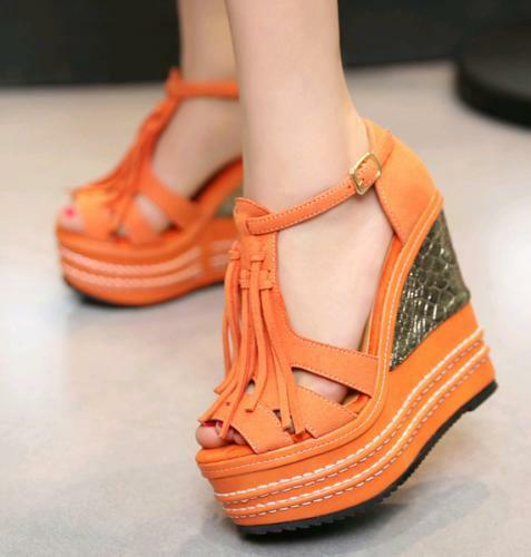 Boho Tassels Women's Wedge High Heel Platform Ankle T-Strap Party Sandals shoes