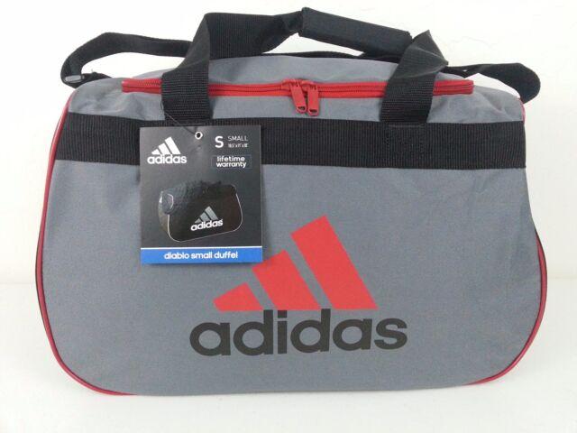 NWT Adidas Diablo Small Duffel Bag Gray Black Red Sport Gym Travel  Expandable 0cea52ef60299