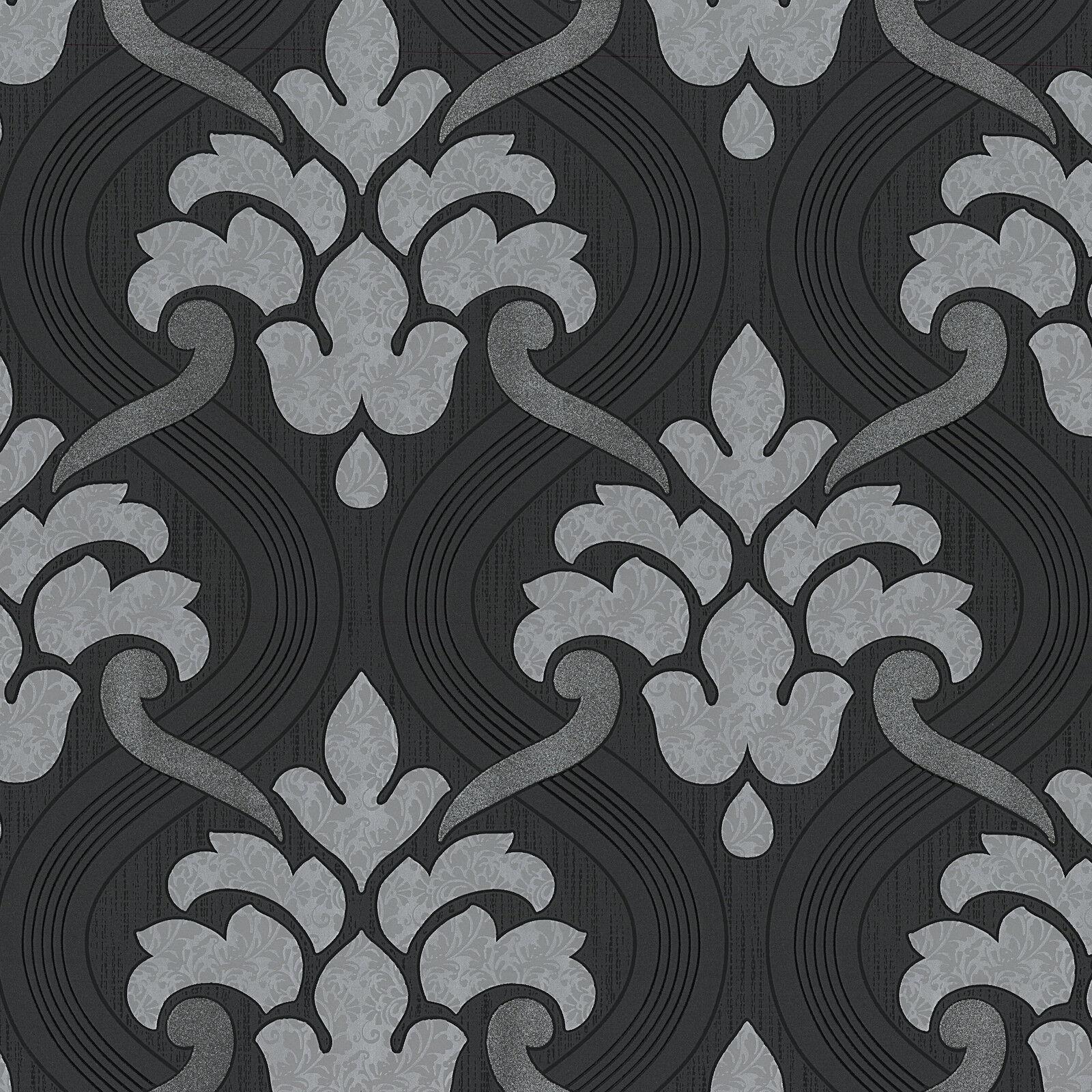 Vlies Tapete Barock Muster Ornament schwarz grau silber metallic ...