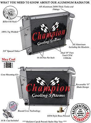 "1970-1981 International Scout II Aluminum 3 Row Champion Radiator /& 2-10/"" Fans"