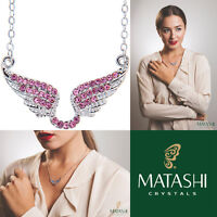 16 Rhodium Plated Necklace W/ Angel Wings & Quality Pink Crystals By Matashi on sale