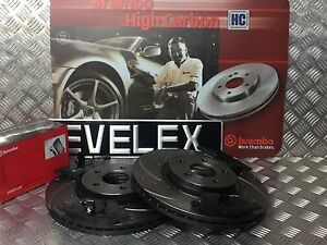 FRONT-BREMBO-DRILLED-GROOVED-BRAKE-DISCS-PADS-KIT-FORD-FOCUS-ST225