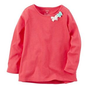 321a8b29 NWT Carter's Girl Long Sleeve Red Tulle Bow Embellished T-Shirt (12 ...