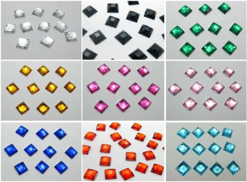 200 Flatback Acrylic Square Sewing Rhinestone Button 10X10mm Pick Your Colour