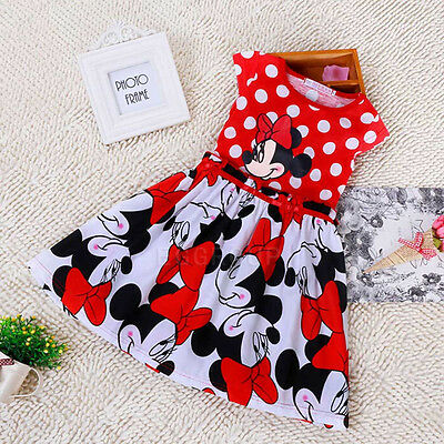 Reds Minnie Mouse Polka Dots Party Outfit Flower Girls Dresses Size 1-2-3-4-5-6Y