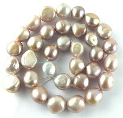 10-13mm Natural Pink-purple Freshwater Pearl Round Freeform Beads 14''
