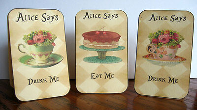 Alice in Wonderland eat me drink me tent cards party table decoration set of 8