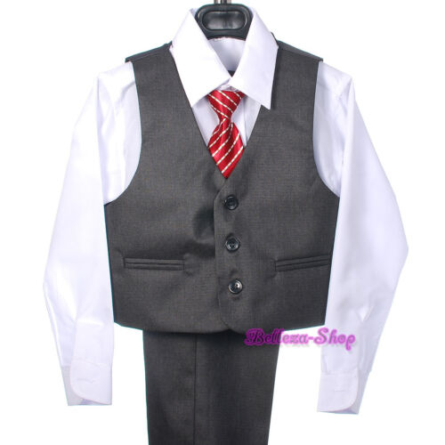5 pcs Gray Formal Tux Suit Outfit Jacket Vest Wedding Occasion Boy Sz 2T-7 ST029