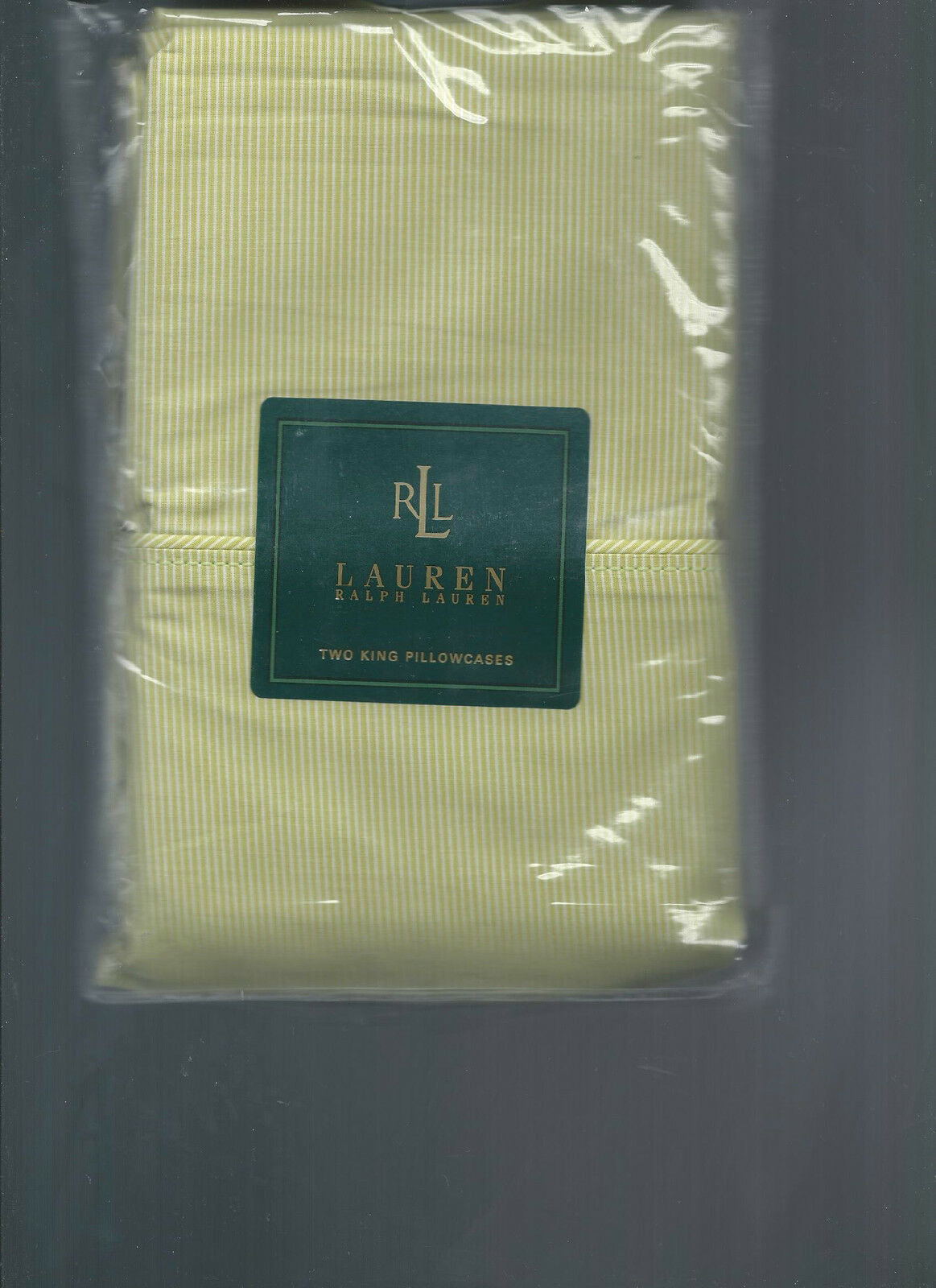 Ralph Lauren Crystal Cay Green Stripe King Pillowcases Lime  New 1st Quality