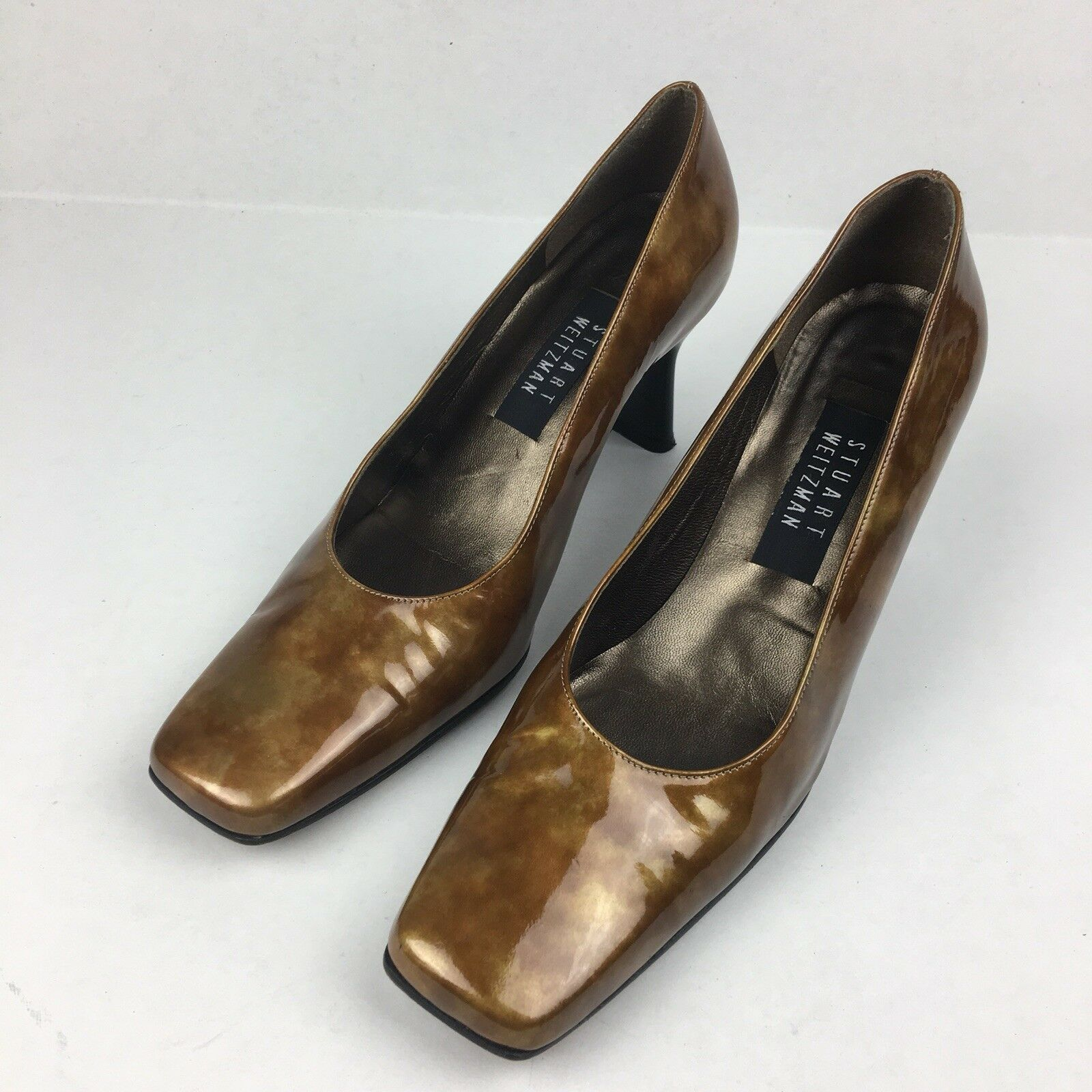 STUART WEITZMAN Bronze Gold Patent Pumps Classic Heels Leather US Size 8.5 B