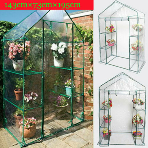 Walk In Greenhouse 4 Shelves Reinforce Outdoor Garden Compact Green House Frame