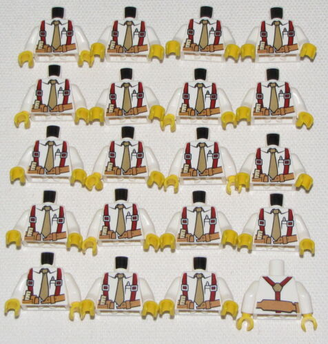 LEGO LOT OF 20 NEW WHITE POLICE TORSOS WITH TAN TIE AND POCKETS TOWN CITY PARTS