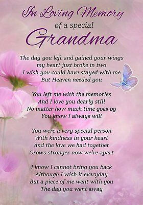 Loving Memory Special Grandma Memorial Graveside Poem Card