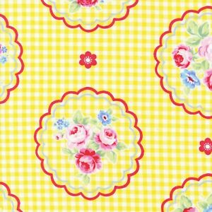 Flower-Sugar-Rose-Kiss-Shabby-Yellow-Gingham-Cotton-Quilting-Fabric-Lecien-Japan