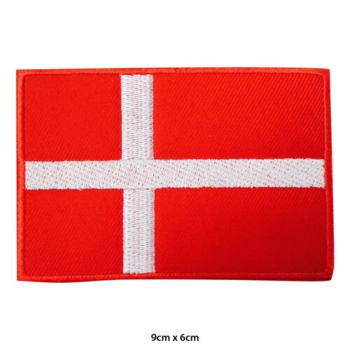 Denmark National Flag Embroidered Patch Iron on Sew On Badge For Clothes etc