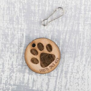 Personalised-Engraved-Wooden-Pet-ID-Collar-Tags-Cat-Dog-30mm-Large-Paw-Print