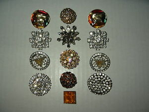 13-Vintage-Art-Deco-Silvertone-Rhinestone-amp-Goldtone-Enamel-Metal-Buttons-Lot