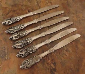 Godinger-Barock-Set-6-Dinner-Messer-Vintage-Silverplate-Bestecke-Lot-A