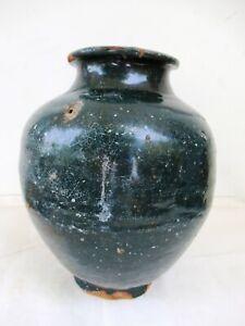Antique-Chinese-Pottery-Ceramic-Pot-Martaban-Jar-Dark-Green-Glazed-12-034-Height-F6