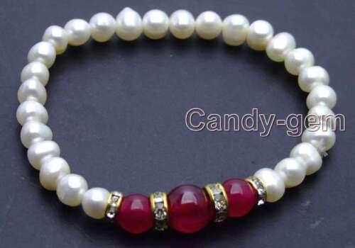 "Blanc 6-7 mm Natural Pearl Bracelet Pour Les Femmes et rose rond JADE 7.5/"" b288"