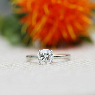 2.00Ct Round-Cut Diamond Solitaire Engagement Ring 14k White Gold Finish