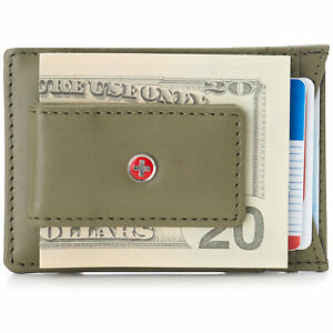 AlpineSwiss-Mens-Leather-Money-Clip-Magnet-Front-Pocket-Wallet-Smooth-Olive