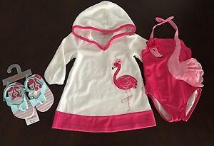 2250a4654f129 NWT Gymboree Girl Swim Shop Terry Cover Up & Flamingo Swimsuit ...