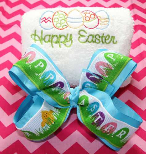 Embroidered Easter Eggs Hand Towel and Personalized Easter Eggs Girls Hair Bow