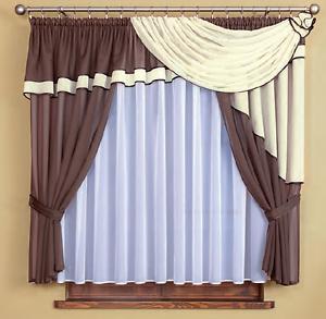 gardinen store kurz vorhang voile wei braun und kr uselband 150cm x 400cm ebay. Black Bedroom Furniture Sets. Home Design Ideas