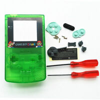 Gbc Nintendo Game Boy Color Housing Shell Screen Clear Green Mario Usa