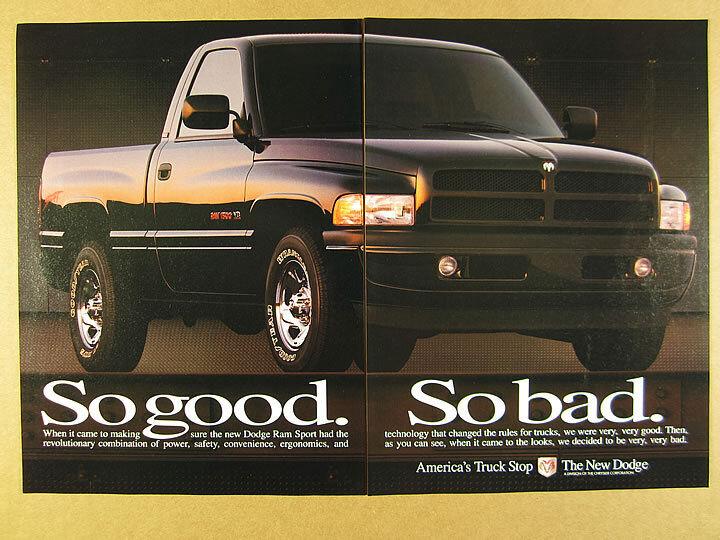 New Dodge Ram Trucks Sport >> 1995 Dodge Ram 1500 Sport Pickup Black Truck Photo Vintage Print Ad