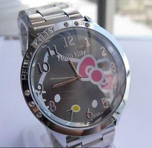 3741fea26d7f Reloj Hello Kitty watch en acero. Steel case watch A2086 Fondo Negro ...