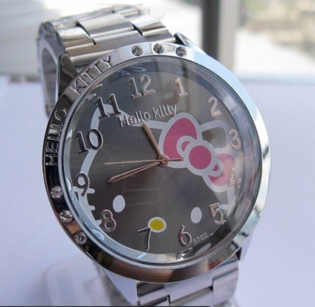 Reloj Hello Kitty watch en acero. Steel case watch A2086 Fondo Negro
