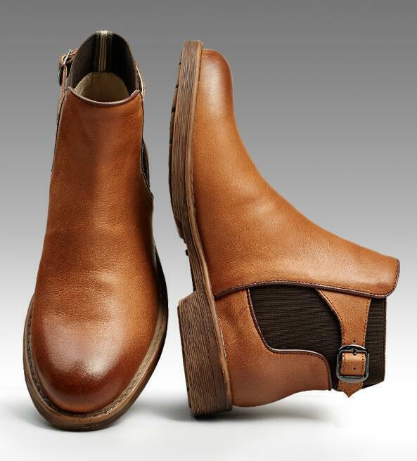 Herrenschuhe Lederstiefel Ankle Stiefel Schnee Faux-Lammwolle Gefüttert Outdoor 44