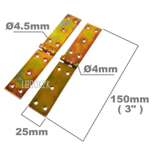 Pair 2pc 25mm x Backflap Heavy Duty Strap Hinges Zinc Tee Door Gate Box Shed