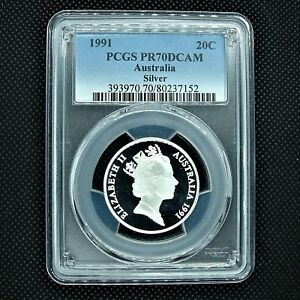 PCGS-PR70-DCAM-1991-SILVER-20-cent-PROOF-slabbed-coin-THE-VERY-BEST-and-rare