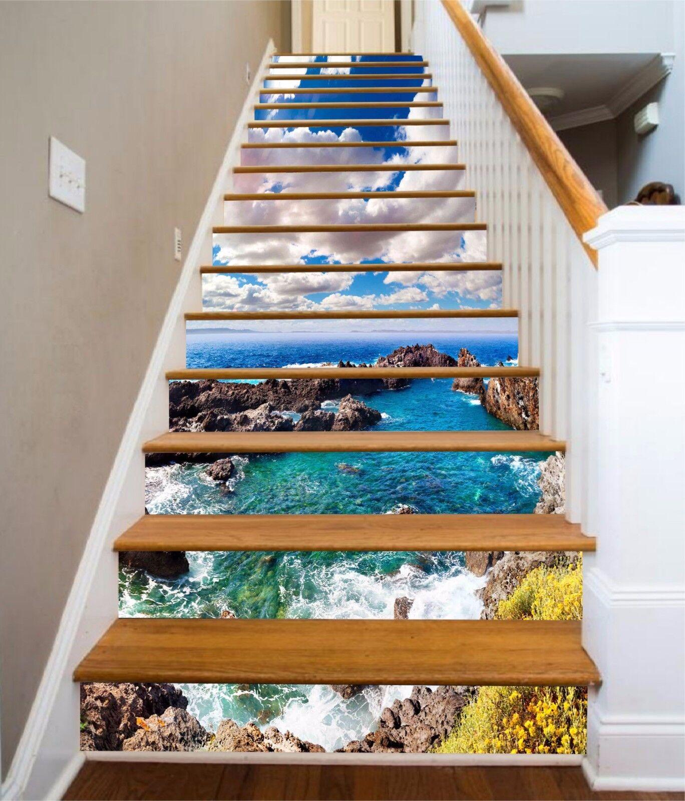 3D Sky ocean 7 Stair Risers Decoration Photo Mural Vinyl Decal Wallpaper UK