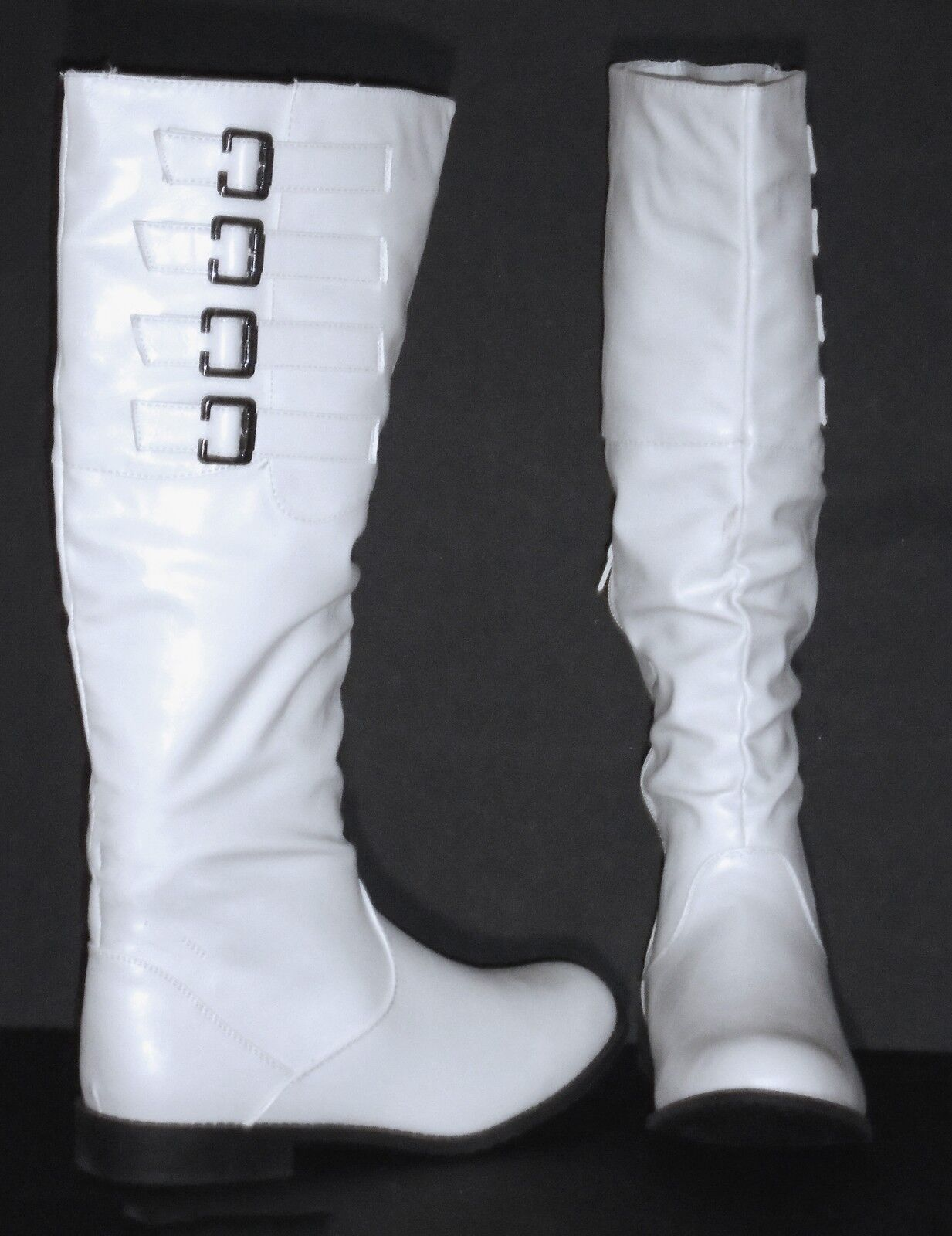 WHITE KNEE-HI FASHION BOOTS 4 BUCKLED STRAPS –TEXTILE LEATHER - SIZE 7½ –NEW